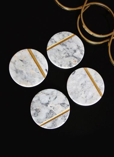 4'lü Gold Line Bardak Altlığı-Marble&Etc.